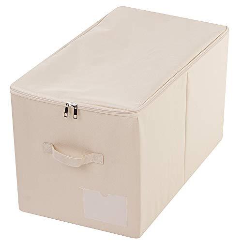 AMX 56 (L) X 33 (W) X 32 (H) cm, Caja de Almacenamiento de Armario Grande con Tapa, Cajas de Almacenamiento de Ropa de Armario Plegables, el tamaño Similar con la Serie IKEA SKUBB, Beige