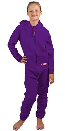 Gennadi Hoppe Kinder Jumpsuit - Jungen, Mädchen Onesie Jogger Einteiler Overall Jogging Anzug Trainingsanzug, lila,134-140