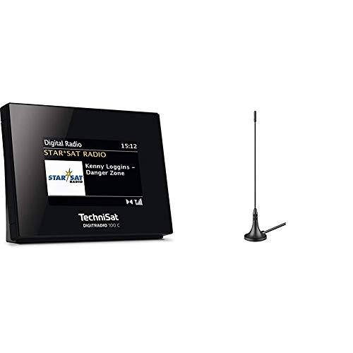 TechniSat DIGITRADIO 100 C – DAB+ Radio Adapter mit Bluetooth (DAB, UKW-Empfangsteil zur Erweiterung von HiFi-Anlagen und AV-Receivern) schwarz & DVB-T Antenne passiv (3 dB) mit Magnetfuß