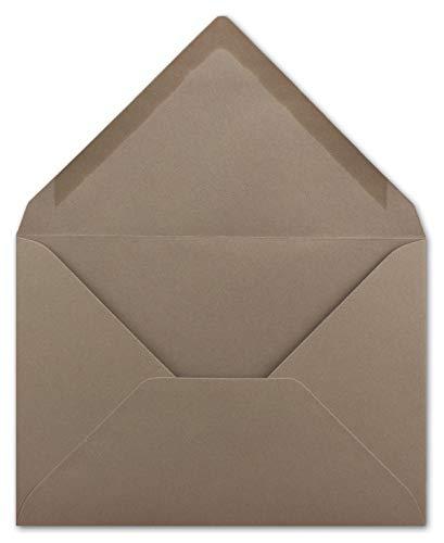 50 Briefumschläge DIN C6 Taupe - 11,4 x 16,2 cm - Kuvert mit 100 g/m² Nassklebung spitze Klappe - Umschläge ohne Fenster - Colours-4-you