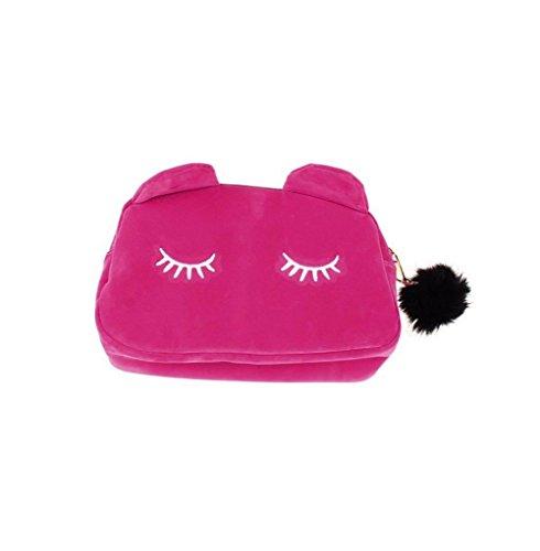 Toruiwa Trousse de Maquillage Sac de Toilette Pochette Cosmétique Forme de Chat Mignon avec Fermeture Eclair pour Produits Cosmétiques Pinceaux Brosses (Rose)