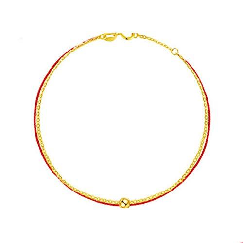 Daesar Tobilleras Mujer Oro 18K,Pulseras Tobilleras Mujer de Oro Cuenta de Cuerda Roja