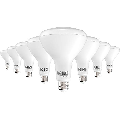 Sunco Lighting 8 Pack BR40 LED Bulb, 17W=100W, Dimmable, 2700K Soft White, 1400 LM, E26 Base, Indoor Flood Light for Cans - UL & Energy Star