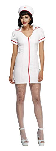 Smiffys womens Fever No Nonsense Nurse Costume,White,S - US Size 6-8