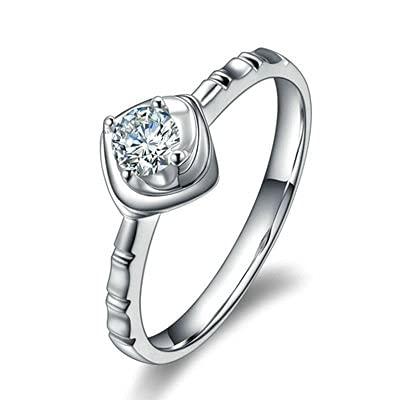 Bishilin Platino, Flor 0.2 Diamante Anillo de Alianza de Com