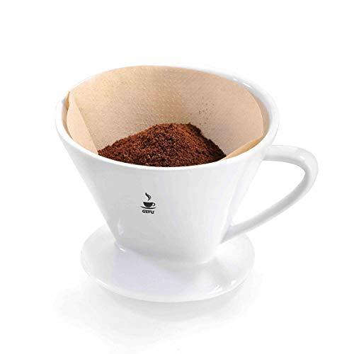 GEFU 16025 Kaffeefilter SANDRO, Gr. 101 aus weißem Porzellan, wiederverwendbarer Handfilter für aromatischen Kaffee