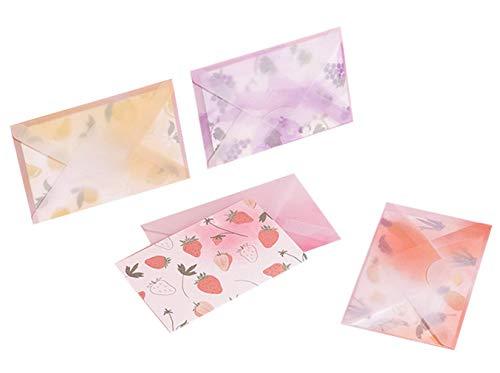 Kamizuki グリーティングカード 果物 封筒付き メッセージカード クリスマス 新年 感謝 誕生日 バレンタイン 暑中見舞い 母の日 バースデー お祝い 出産祝い 結婚祝い 苺 葡萄 レモン パイナップル 4枚セット