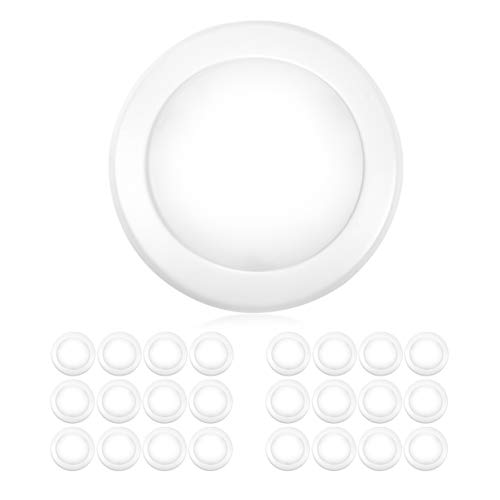 "PARMIDA (24 Pack) 5/6"" Dimmable LED Disk Light Flush Mount Recessed Retrofit Ceiling Lights, 15W (120W Replacement), 5000K, Energy Star & UL-Listed, Installs into Junction Box Or Recessed Can, 1050lm"