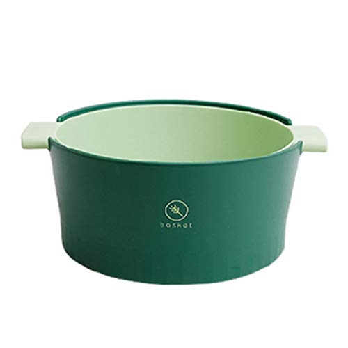 Cabilock 2 in 1 Sieb Schüssel Siebe Abnehmbar Selbstentleerend für Nudeln Reis Spaghetti Nudeln Salate Gemüse (Hellgrün)