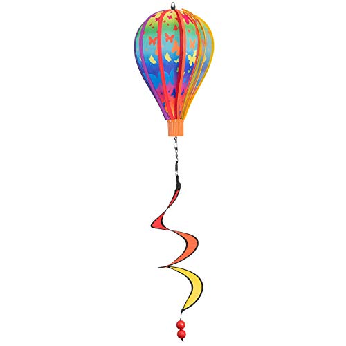 CIM Wind Spinner - Micro Balloon Butterfly Twister - weather resistant - Balloon Diameter x 28 cm, 4 x 3.5, Spiral Basket Diameter 10 cm x 35 cm - Template included for easy hanging