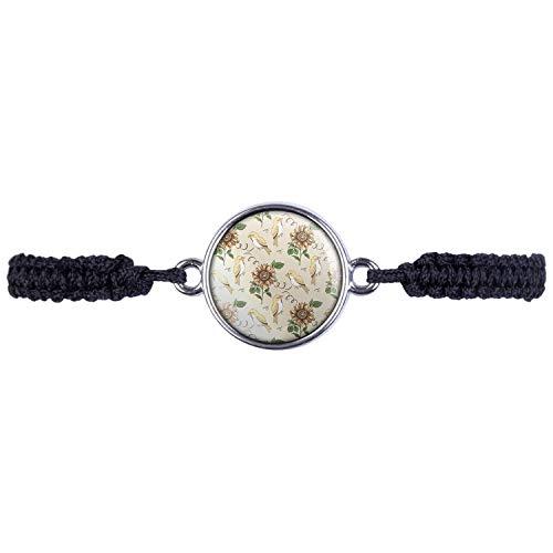 Mylery Bracelet with Bird Sun Flower Leaves Pattern Silver or Bronze 16 mm silver