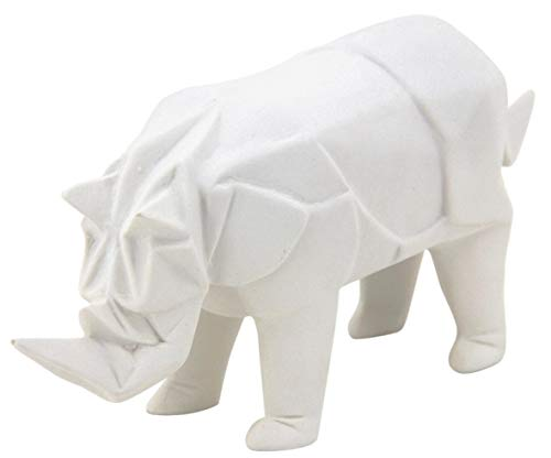 AUBRY GASPARD Rhinocéros déco en résine Blanche Origami
