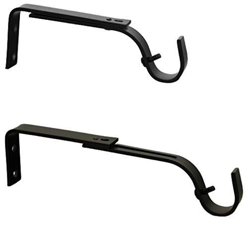 Soporte de pared extensible y ajustable para barra de cortinas, diámetro 19 mm, longitud 125 – 170 mm, color negro (1 paquete de 2 soportes)