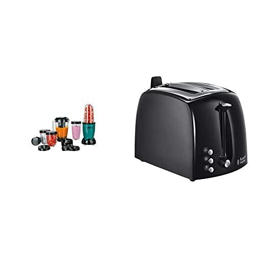 GOURMETmaxx Mr. Magic Smoothie Maker 18-teilig | Standmixer mit 8 Funktionen [400 Watt] & Russell Hobbs Toaster Textures+, 850W, Toaster schwarz 22601-56