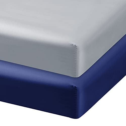 Satin Crib Sheets Fitted for Standard Crib Mattress, 2 Pack Ultra Soft Fitted Crib Sheet for Baby, Machine Washable, Grey and Navy
