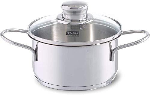 Fissler häppchen / kleiner Edelstahl-Kochtopf (Ø 14 cm, 1 L) Snacktopf, mit Glas-Deckel, Induktions-geeignet, Silber