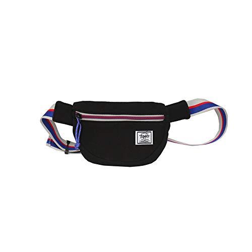 QIAN Hiphop Ultraleichte Brusttasche Outdoor Sports Tragbare kleine Umhängetasche Canvas-Freizeittasche Bauchtasche,Black