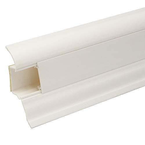 Praktikus 26.25m Kabelkanalleiste 50 |weiss |Im Paket 15 Stück Leisten je 1,75m inkl. dekorgleiche Eckstücke | selbstklebend