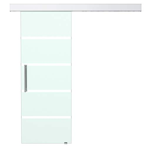 HOMCOM Glasschiebetür Schiebetür Tür Zimmertür mit Griffstange einseitig satiniert mit Streifen 2050x 775 mm