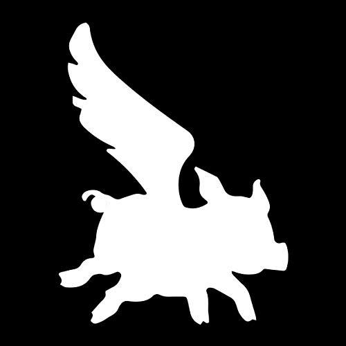 EvolveFISH Flying Pig Silhouette Weatherproof Vinyl Decal - [White][5']
