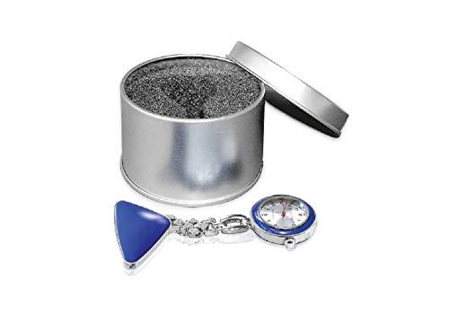 Schwesternuhr Krankenschwesteruhr Pulsuhr ratiomed blau/Silber in Metalldose