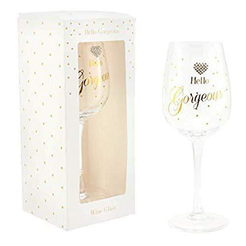 Hello Gorgeous mit Design Geschenk Geschenkverpackung Wein Glas von MAD Dots