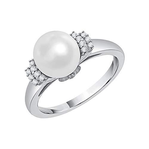 KATARINA Anillo de moda de diamantes y perlas en oro de 14 K (1/20 cttw, G-H, I2-I3)