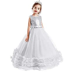 Sequin-white Flower Girl Puffy Ball Gowns