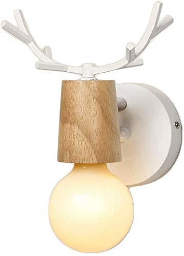Meixian Creatieve led-wandlamp, E27, kleine anlersdecoratie, hout, slaapkamer, nachtleeslampje, kinderkamer-nachtlampje, eenvoudig retro