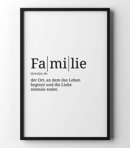 Papierschmiede Definition: Familie | DIN A4 | Poster mit Worterklärungen wie im Duden für Deine Wanddeko | Kunstdruck für den Bilderrahmen