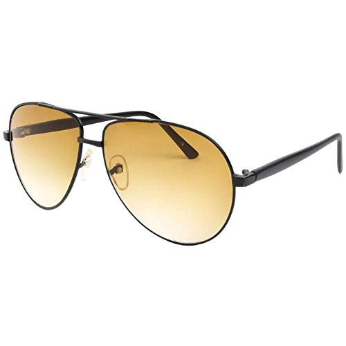 Eye Wear Lunette de soleil aviateur Tendance Noir et Jaune Alkyl - Mixte