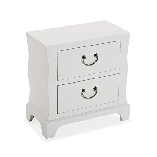 Versa Bran Comodino Tavolino o ausiliario per la camera da letto o il soggiorno Cassettiera, con 2 cassetti, Misure (A x L x l) 48 x 25 x 48 cm, Legno, Colore Bianco