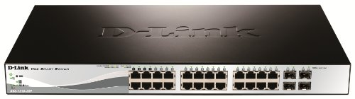 D-Link DGS-1210-28P - Switch PoE 24 Puertos Gigabit y 4 Puertos SFP Combo (24 x PoE Máx. 30W por Puerto hasta un Total 193W Máx.), Altura 1U, VLAN automática para Video vigilancia y Telefonía IP
