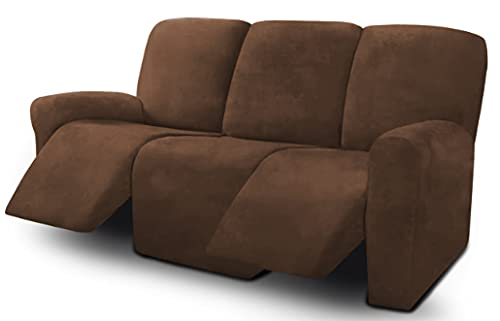 Ultimate Decor 8-Pieces Recliner Sofa Covers Velvet Stretch Reclining Couch Covers for 3 Cushion Reclining Sofa Slipcovers Furniture Covers Thick Soft Washable (Chocolate)