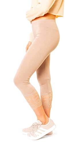 Easy Young Fashion Damen 3/4 Capri Leggings Spitze Spitzensaum Wadenlang One Size Beige