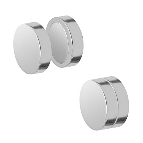 SoulCats magnetische Fakeplugs, Ohrringe ohne Ohrloch, Größe: 8 mm, Farbe: Silber