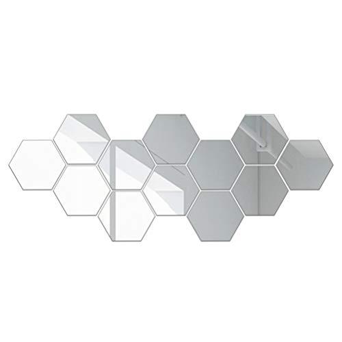 HEALLILY 12 Piezas Espejo Hexagonal Grande 20Cm Espejo Hexagonal Azulejos Espejo de Pared Pegatinas para Salón Dormitorio Decoración de Pasillo