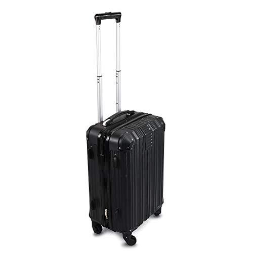 Todeco - Carry On Suitcase, Cabin Luggage - Dimensioni (ruote incluse): 56 x 38 x 22 cm - Tipologia ruote: 4-ruote con 360° di rotazione - Bagaglio a mano 51 cm, Nero, ABS, Protected Corners, Double L