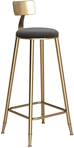 PIAOLING High Stools Barstools Bar Stool Kitchen Chair Stool Coffee Restaurant Wrought Iron High Chair Backrest Design Gray Cushion (Seat Height: 4585CM) for Pub | Café (Size : 78cm) (Size : 85cm)