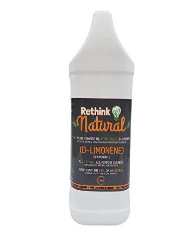 Rethink Natural Food Grade d-Limonene - Stain remover, Floor cleaner, Degreaser, Glass cleaner, Multi-Purpose, Citrus Cleaner, Deodorizer, Stain Remover (64oz)