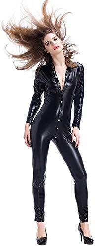 MEIGUI Erotische Dessous Erotische Kleidung Verdeckte Siamesische Lederhose Aus Lackleder Sexy Schwarzer Motorradanzug Overall,OneSize-Black