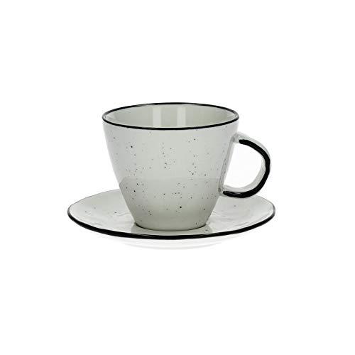 Lot de 12 tasses à café avec soucoupes en porcelaine - Faits à la main - Style écru.