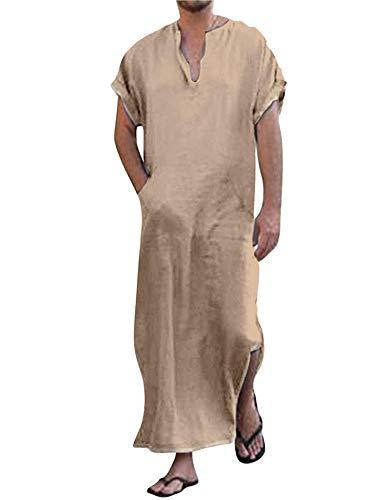 COOFANDY Pijama de manga corta para hombre, algodón, lino, cuello en V, con bolsillos, camisa para hombre caqui L