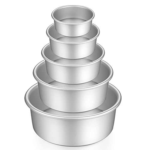 Juego de moldes redondos de aluminio anodizado, 5 piezas para hornear con base extraíble para tartas y fiestas de cumpleaños, Navidad (5 '6' 7' 8' 9')