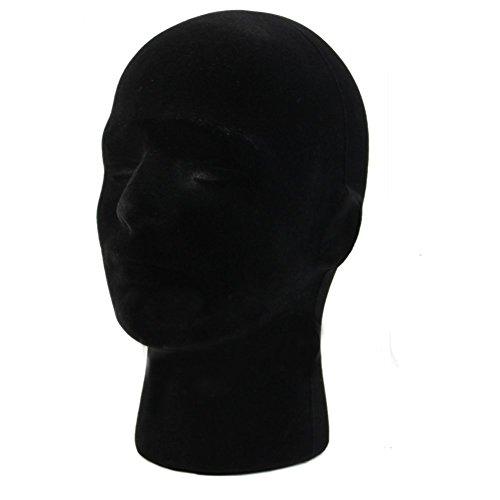 REFURBISHHOUSE 28 * 55cm Manequi/Maniqui Negro de Cabeza Hombre de Espuma Poliestireno