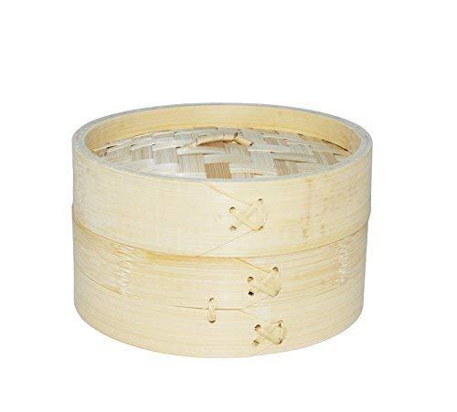 EM Home Vaporera de bambú para cocinar al Vapor, cocedor 1 Nivel con Tapa, Cesta de bambú, Recipiente de bambú, Oriental, cocer al Vapor (15x9cm)
