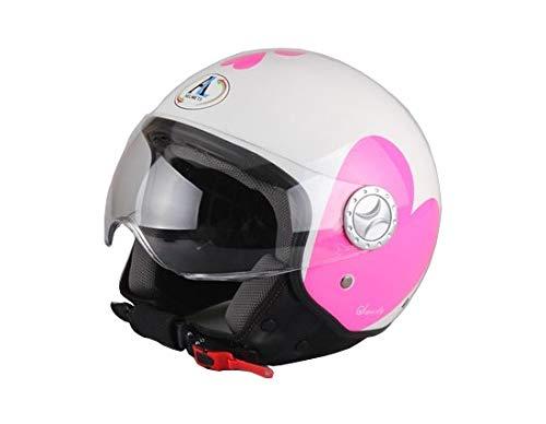 AL Helmets CASCO DEMI-JET MOD. 101 COLORE BIANCO CON CUORI LOVE MISURA S