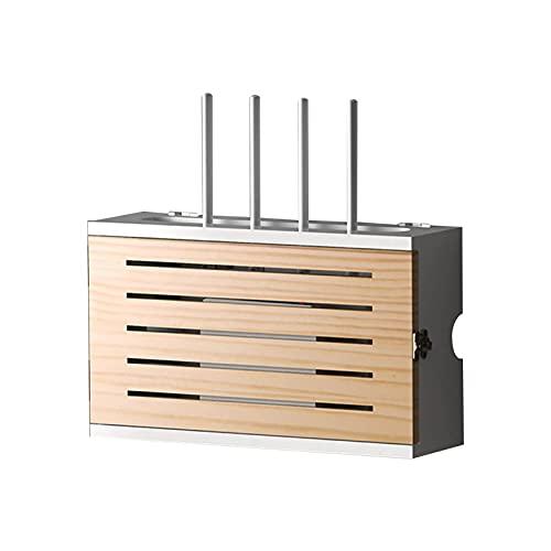 LJXX Home Caja Router WiFi, Estante de Almacenamiento de Router, Caja de Almacenamiento para Router y Cables de Madera Soporte Router Pared Organizador de Cable