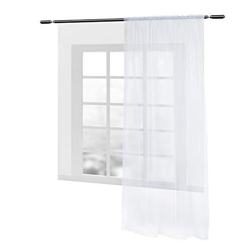 WOLTU VH5515ws, Gardinen Vorhang transparent mit Kräuselband Stores für Schiene Fensterschal Dekoschal Voile Wohnzimmer Landhaus 140x225 cm Weiß, (1 Stück)