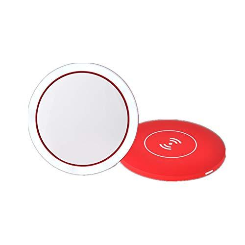 Miroir de maquillage Vanity avec lumières LED Maquillage LED Lighted Miroir rechargeable, avec Dimmable écran tactile, Miroir lumineux portable for Voyage, salle de bains (rouge, rose) Pour les femmes